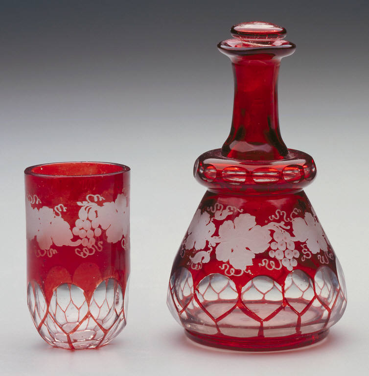 Carafe with stopper and drinking glass