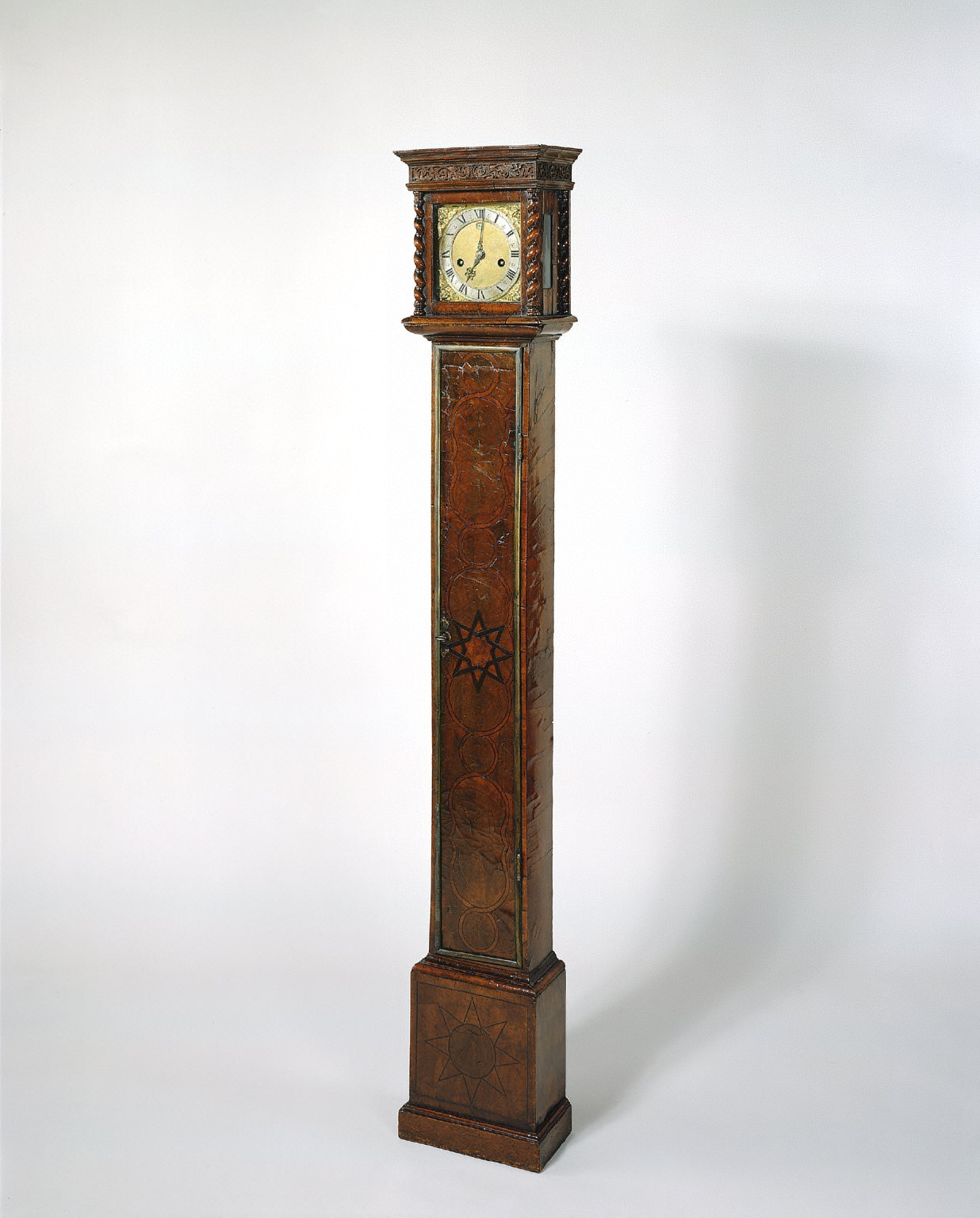 Miniature Olivewood Longcase Clock with Hour Striking and Dial