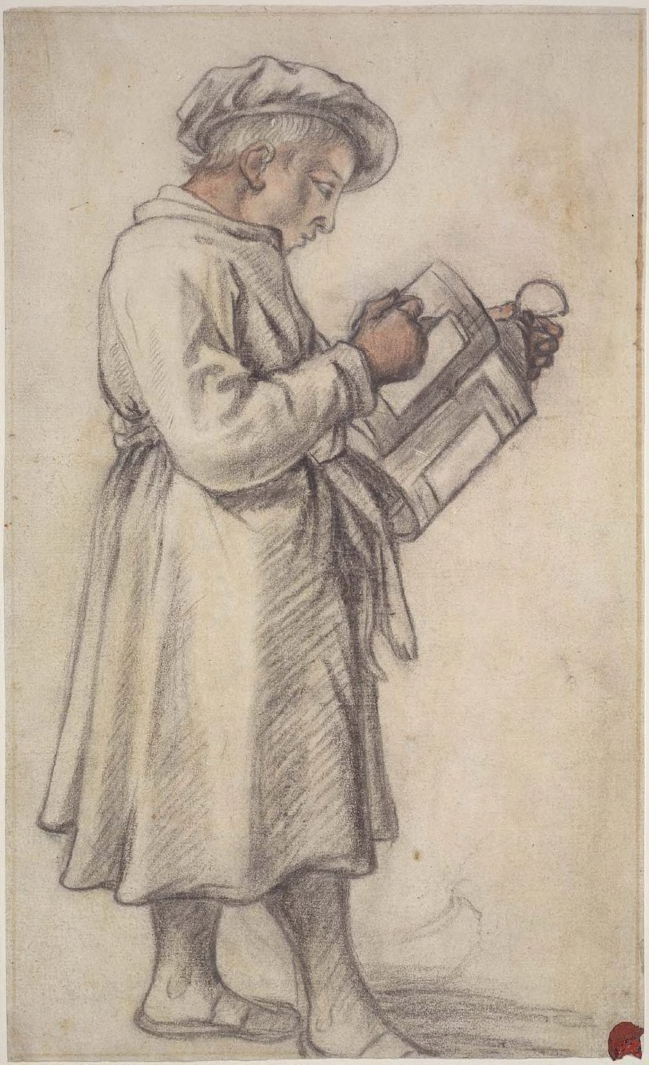 Standing Youth Holding a Lantern (recto); Standing Cow (verso)