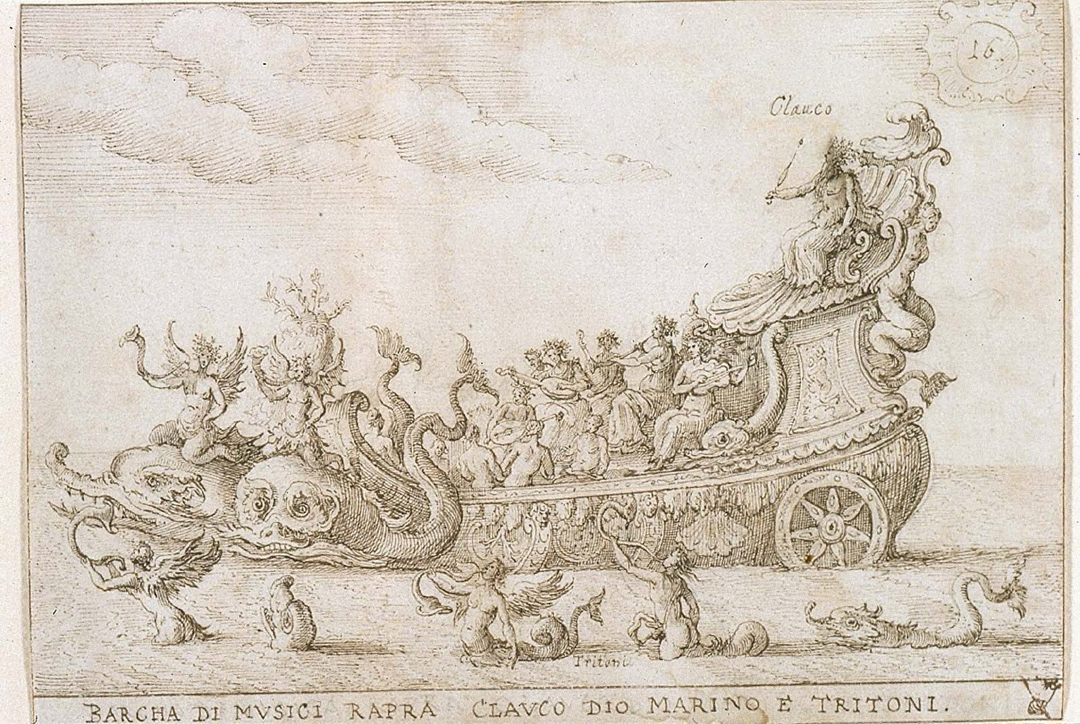A Fantastic Barge Decorated with Dolphins and Carrying Musicians and Glaucus
