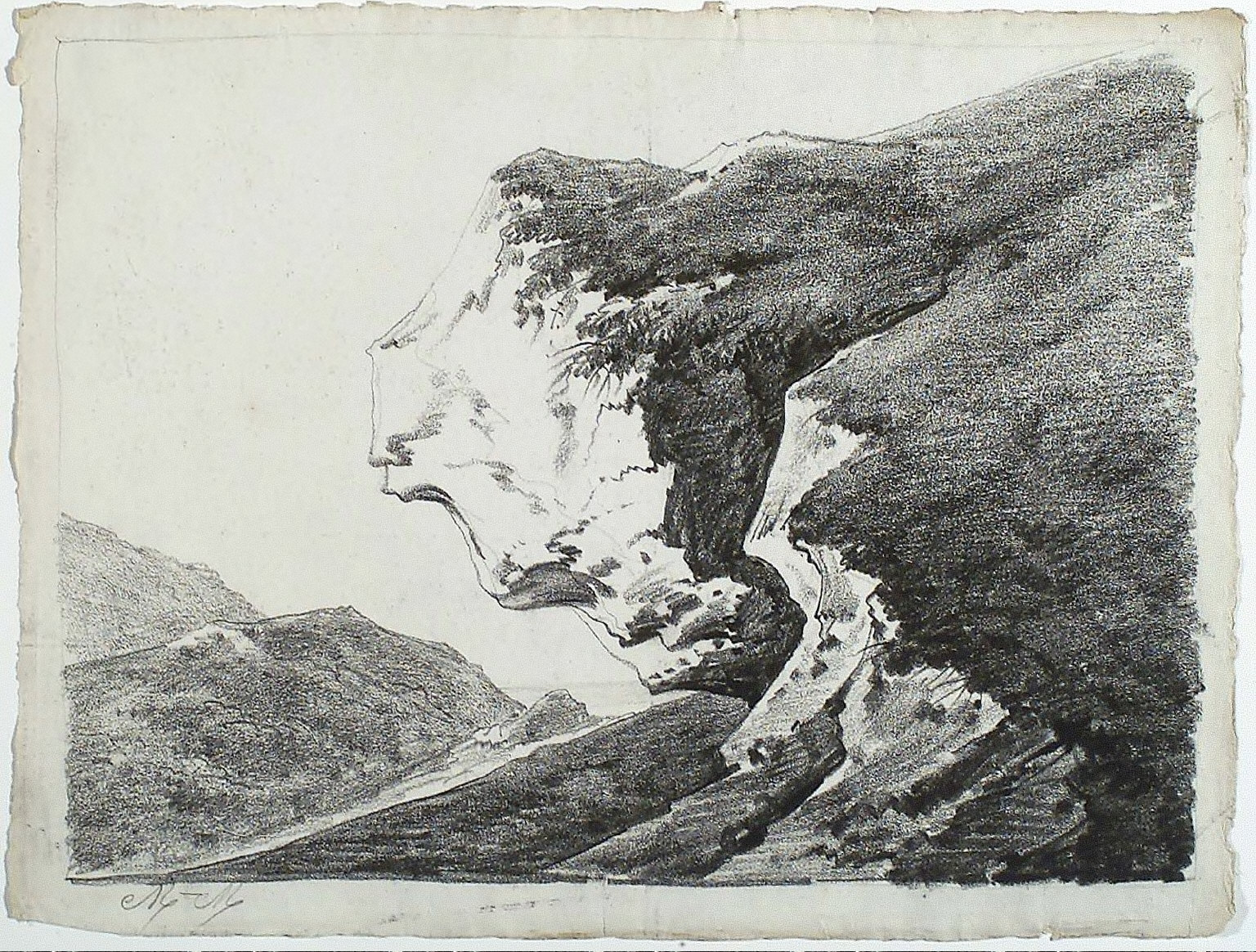 Study of a Rock Outcropping (with hills at left)