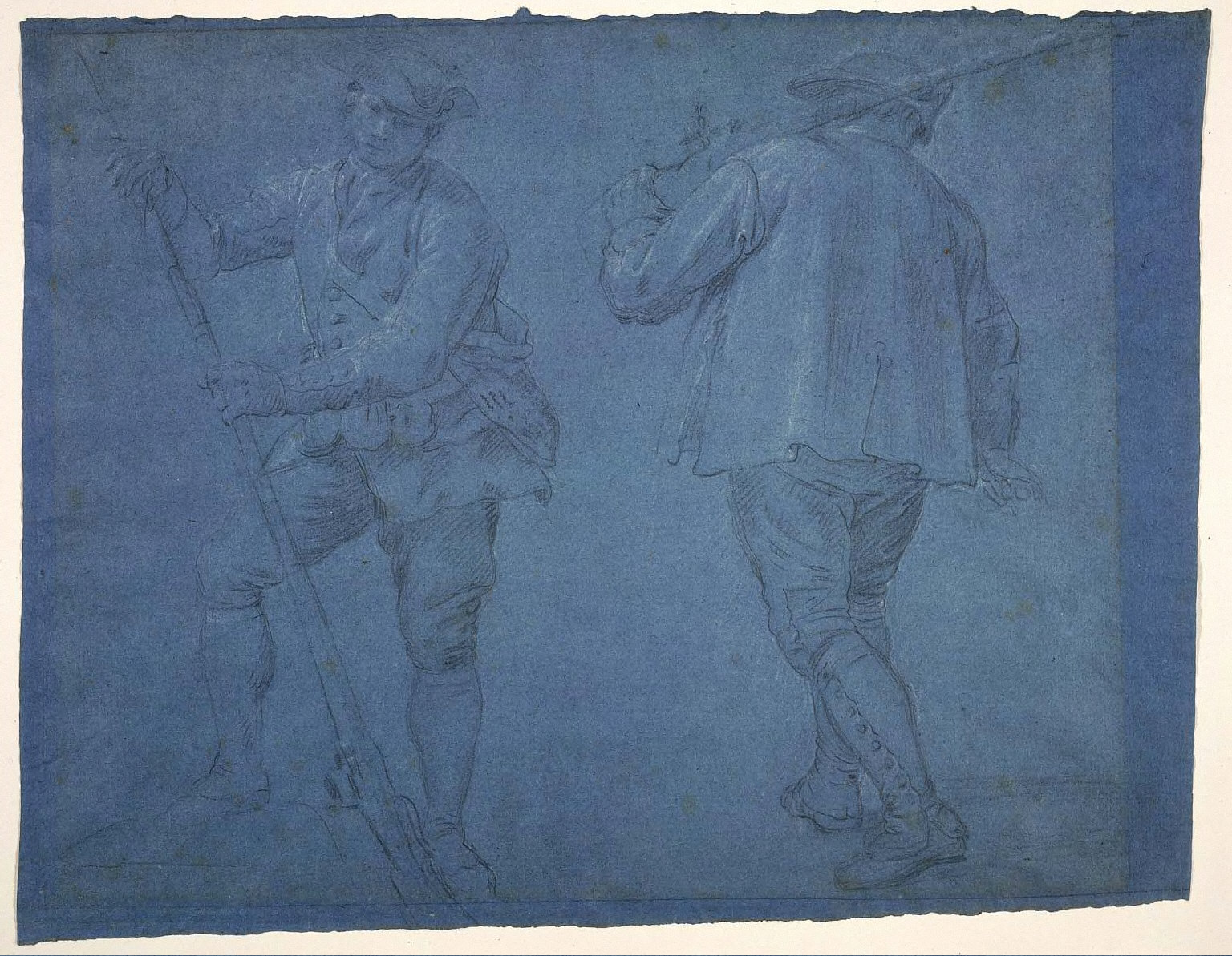 Two Hunters (Studies for two tapestry panels in the dining room of the Princes of Asturias in the Royal Palace of San Lorenzo del Escorial)