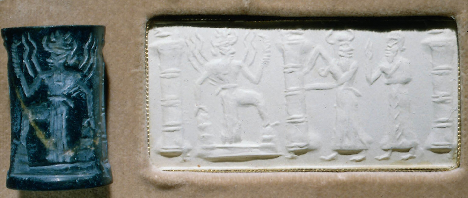 Cylinder seal: Sun-god Shamash rises over hills, with rays extending from his shoulders