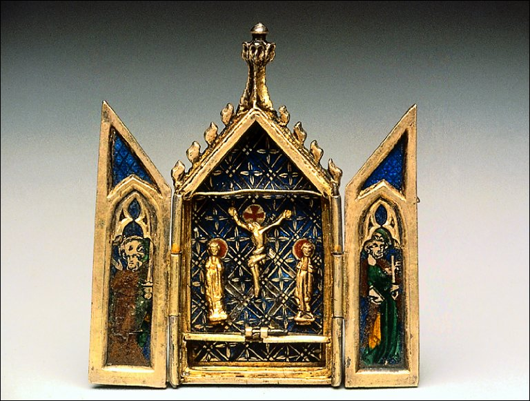 Reliquary Triptych with the Crucifixion, Coronation of the Virgin, Saint Peter and Saint Paul