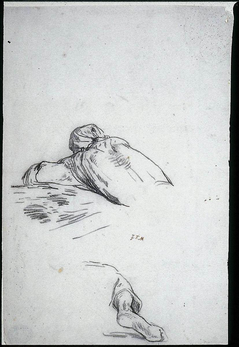Man Leaning over a Bale of Grain II (studies for Harvesters Resting)