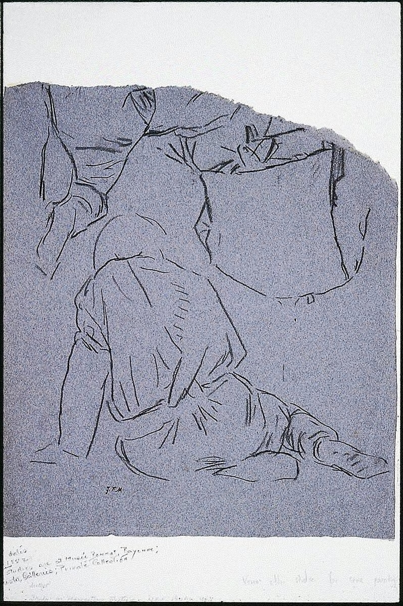 Man Seated in Foreground II (recto); Man Leaning over a Bale of Grain
