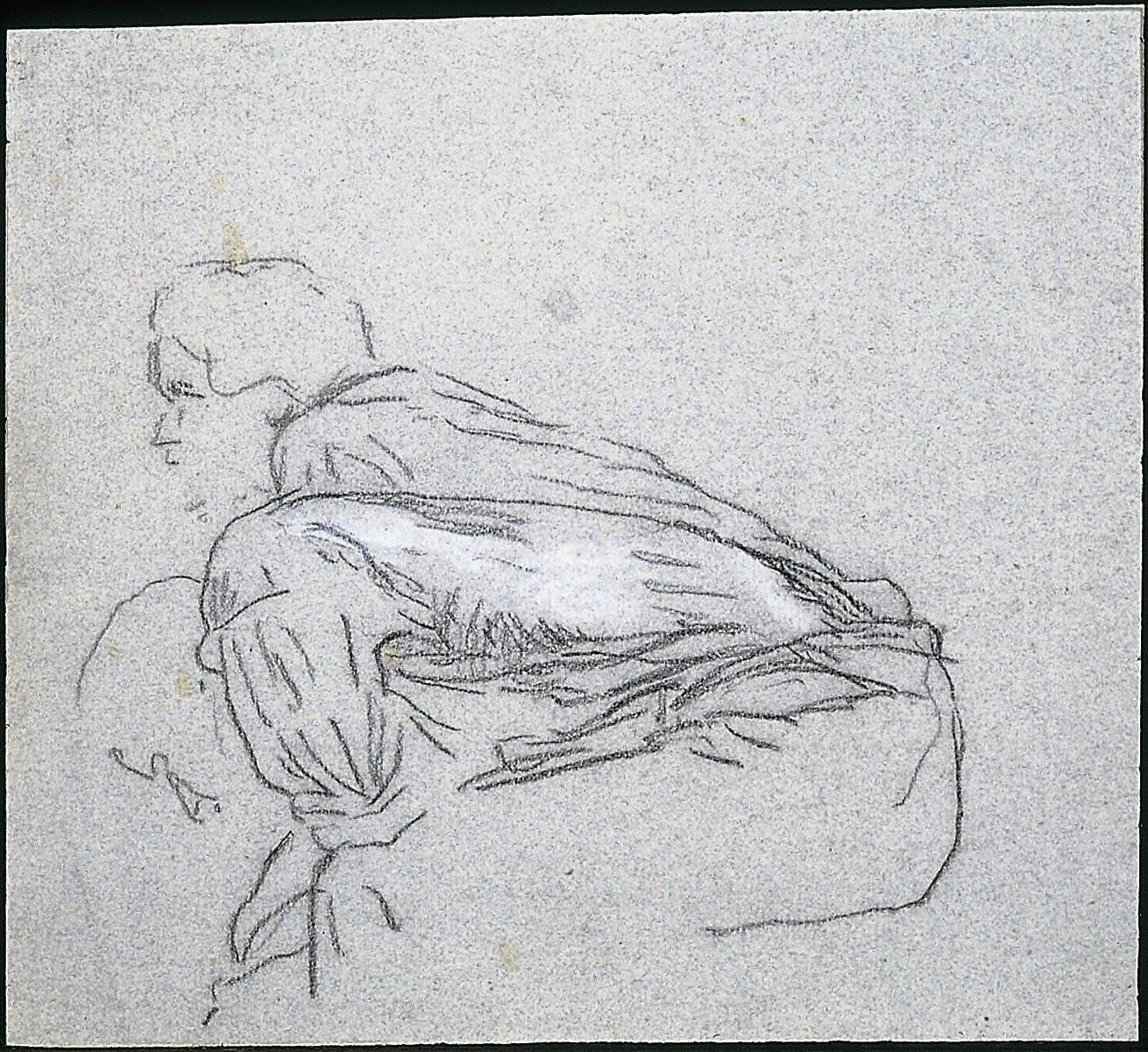 Two Men Seated on a Bale of Grain. Study for Harvesters Resting (recto)