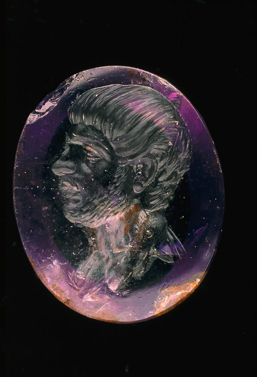 Intaglio with bust of young man