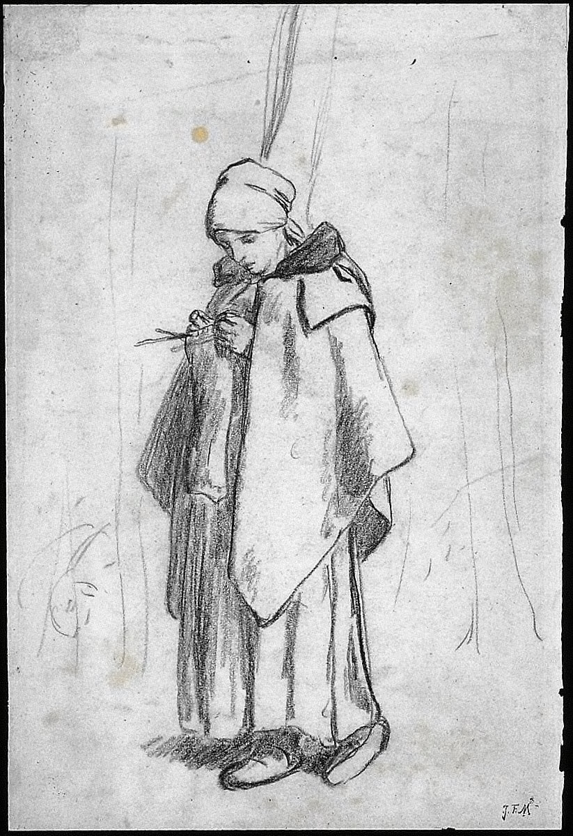 "[Shepherdess Knitting, Shepherdess Knitting (study for ""Shepherdess Knitting Beside a Tree"")]"