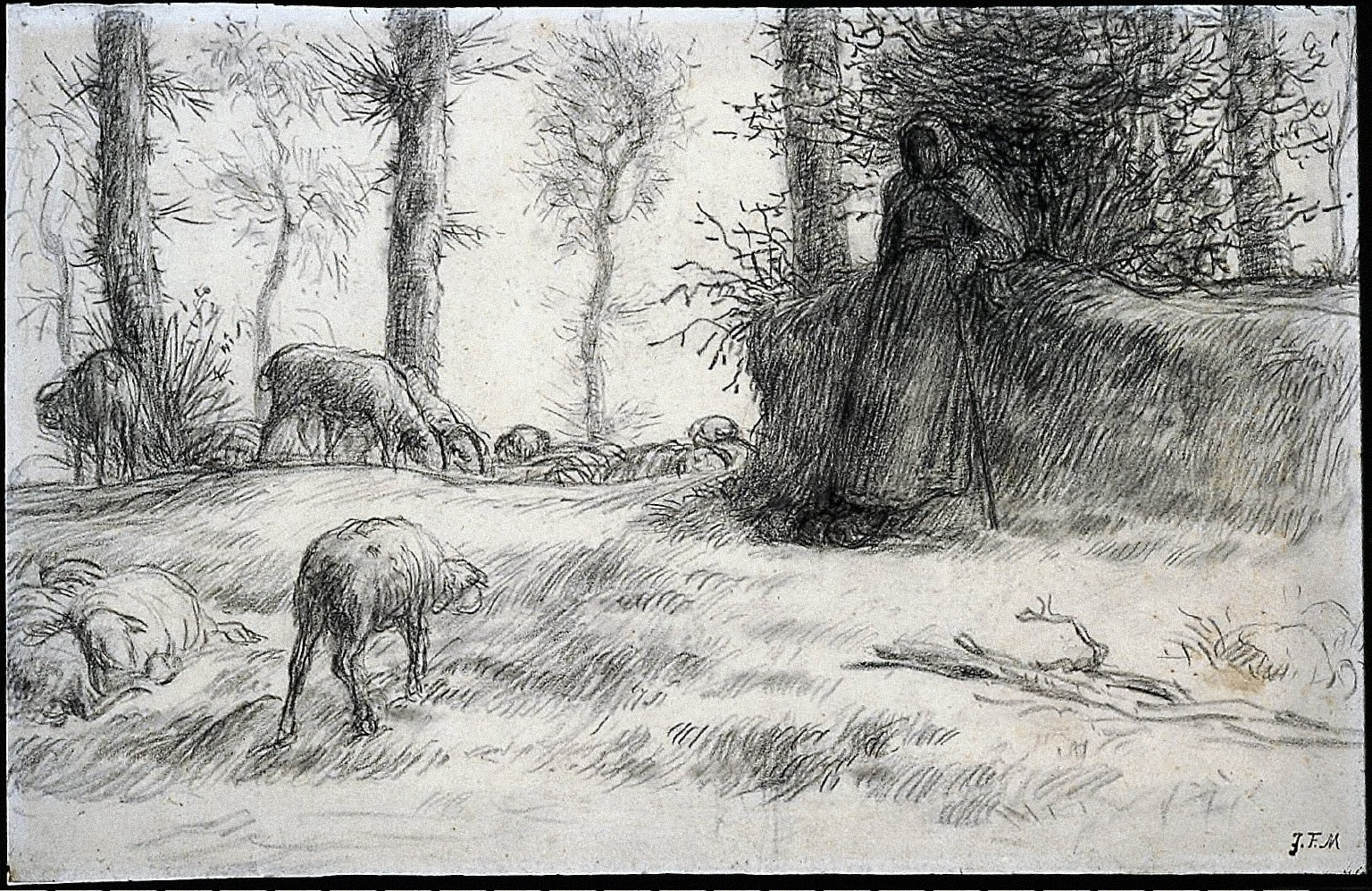 [Landscape with Sheperdess and Sheep, Winter, Landscape with Shepherdess and Sheep, Winter]