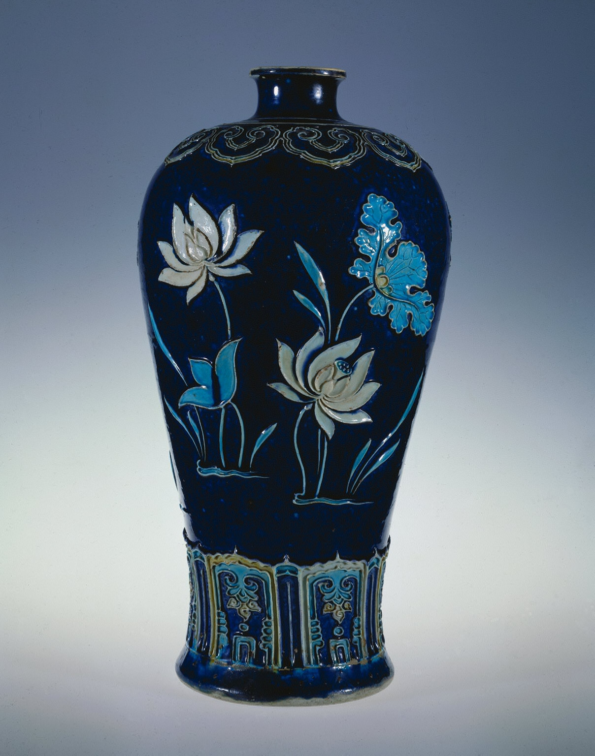 Prunus Vase (Meiping) with Blossoming Lotus: Fahua Ware