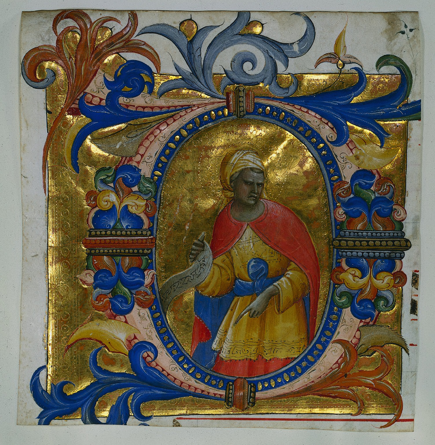 Historiated Initial (D) Excised from a Choir Book: A Prophet