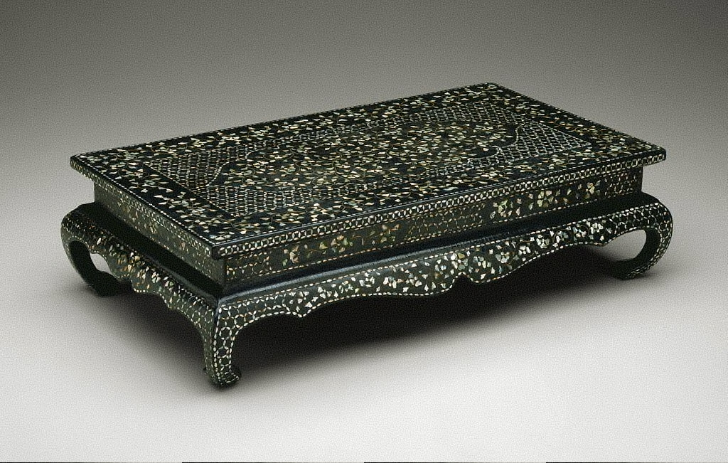 Table with Floral Scroll Design