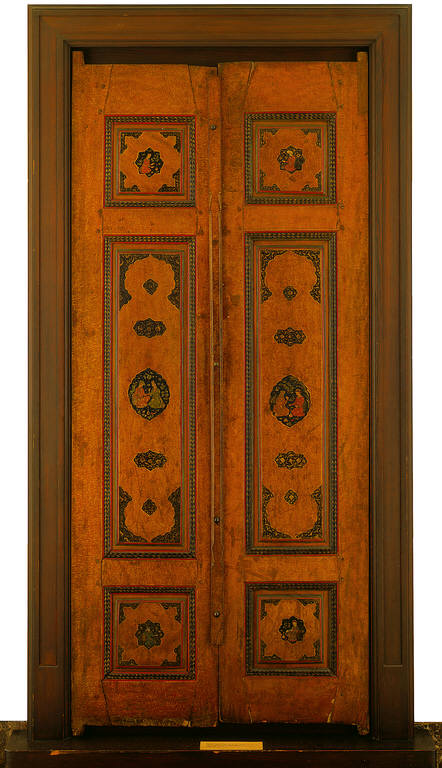 Pair of Painted Lacquer, Gilded Wood Doors