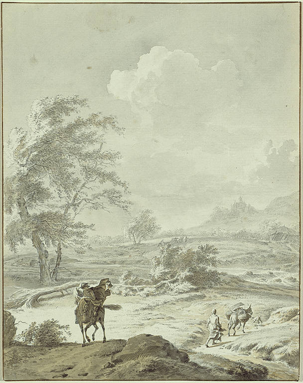 Landscape with Man on Horseback and Woman Guiding a Donkey