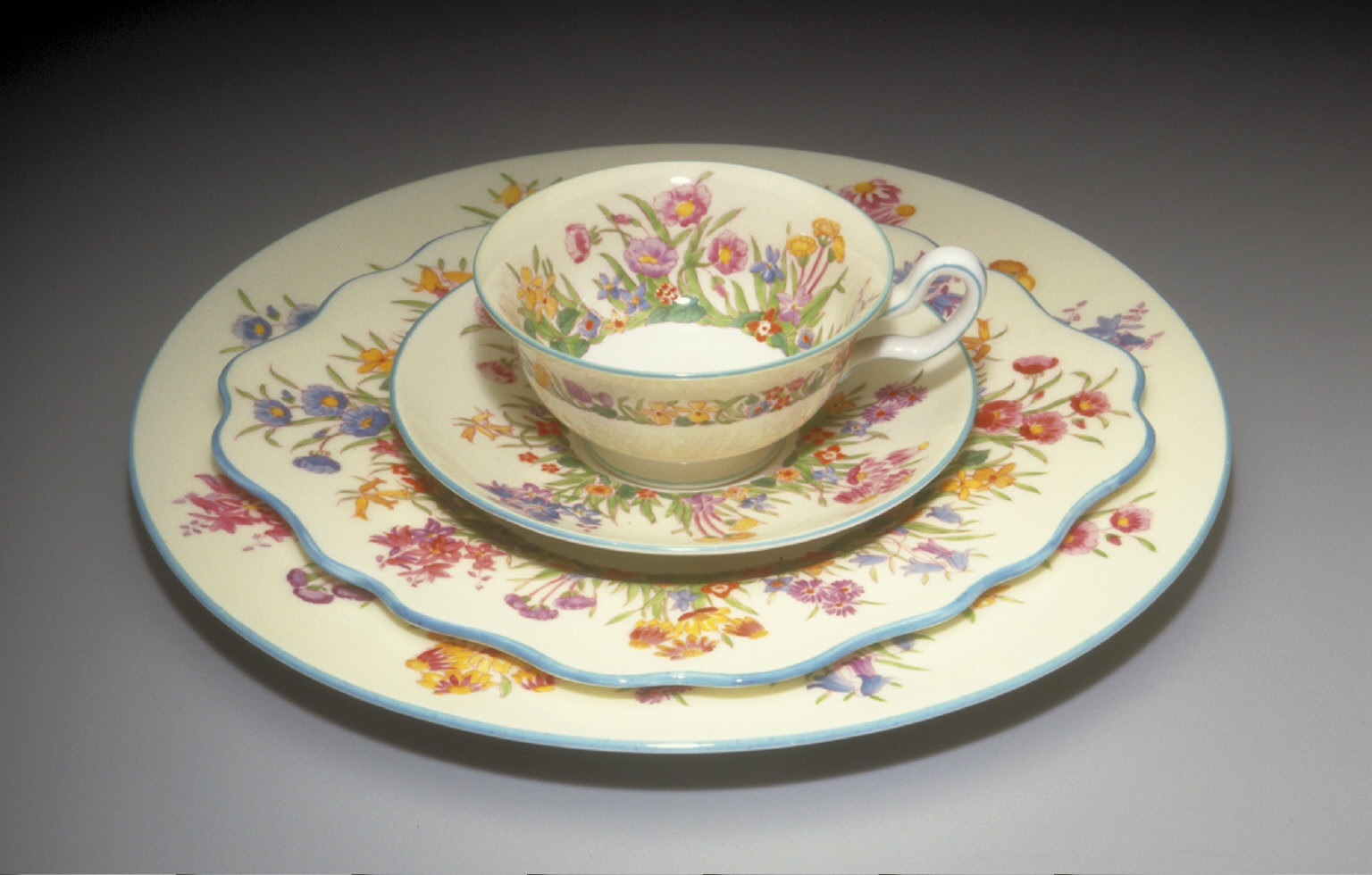 'Peony' shape teacup and saucer with 'Prairie Flowers' pattern