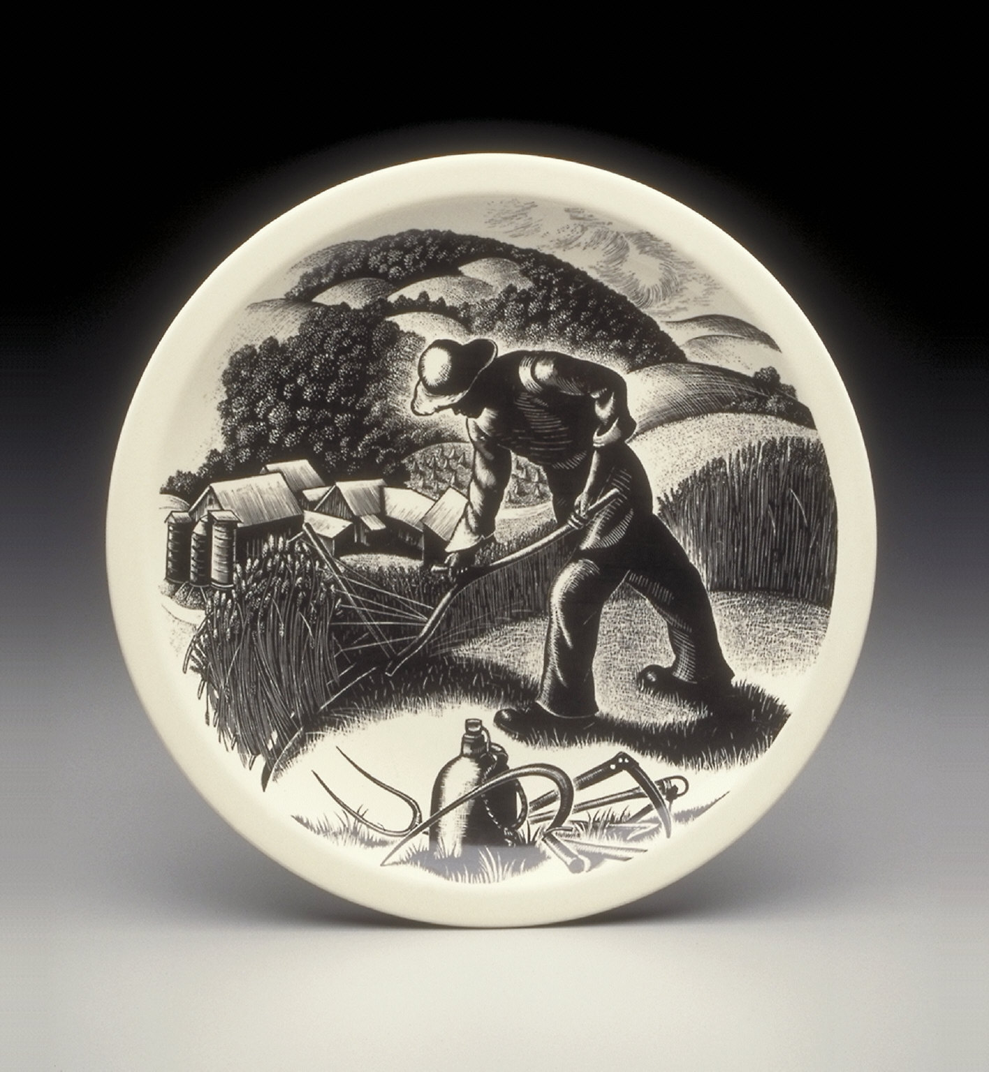 'Farming' plate from the 'New England Industries' series