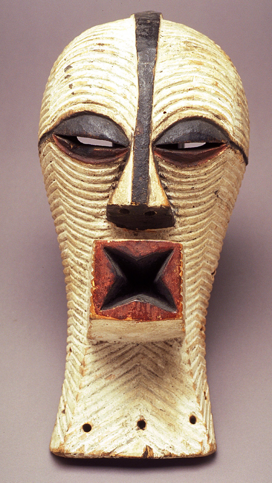 Kifwebe mask with star-shaped, protruding mouth