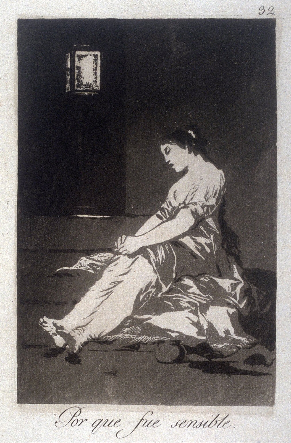 Po que fue sensible (Because She Was Susceptible), plate 32 from the series Los Caprichos (Caprices)
