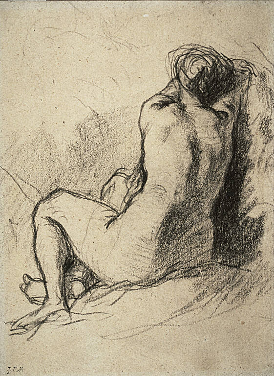 [Nude, Final Published Work: Les Regrets, 1846, painting, MFA, Boston, Study: Nude Woman Seen from the Back, Nude Woman Seen from the Back, Femme Vu de Dos]