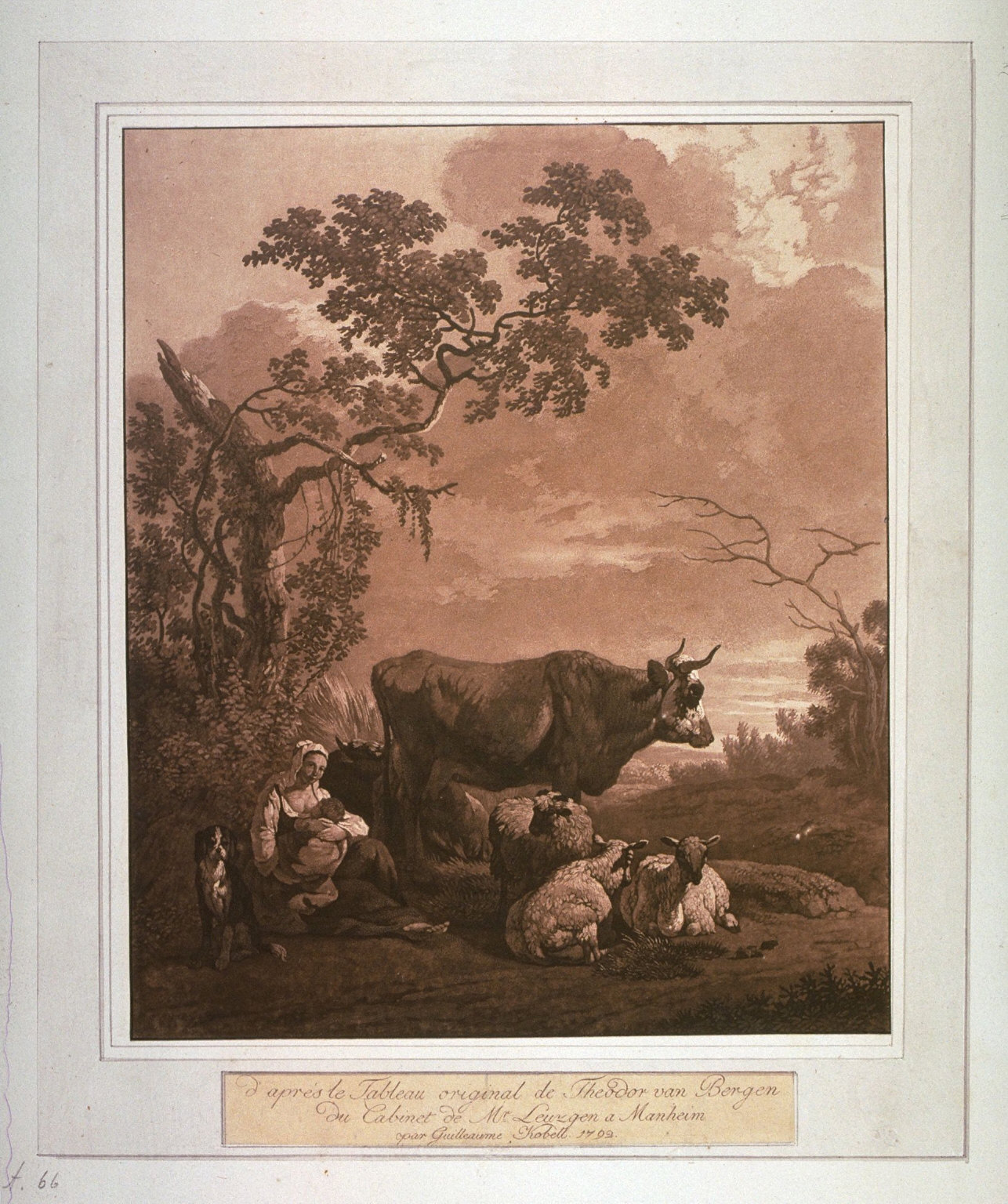 Landscape with woman and baby sheep and cow