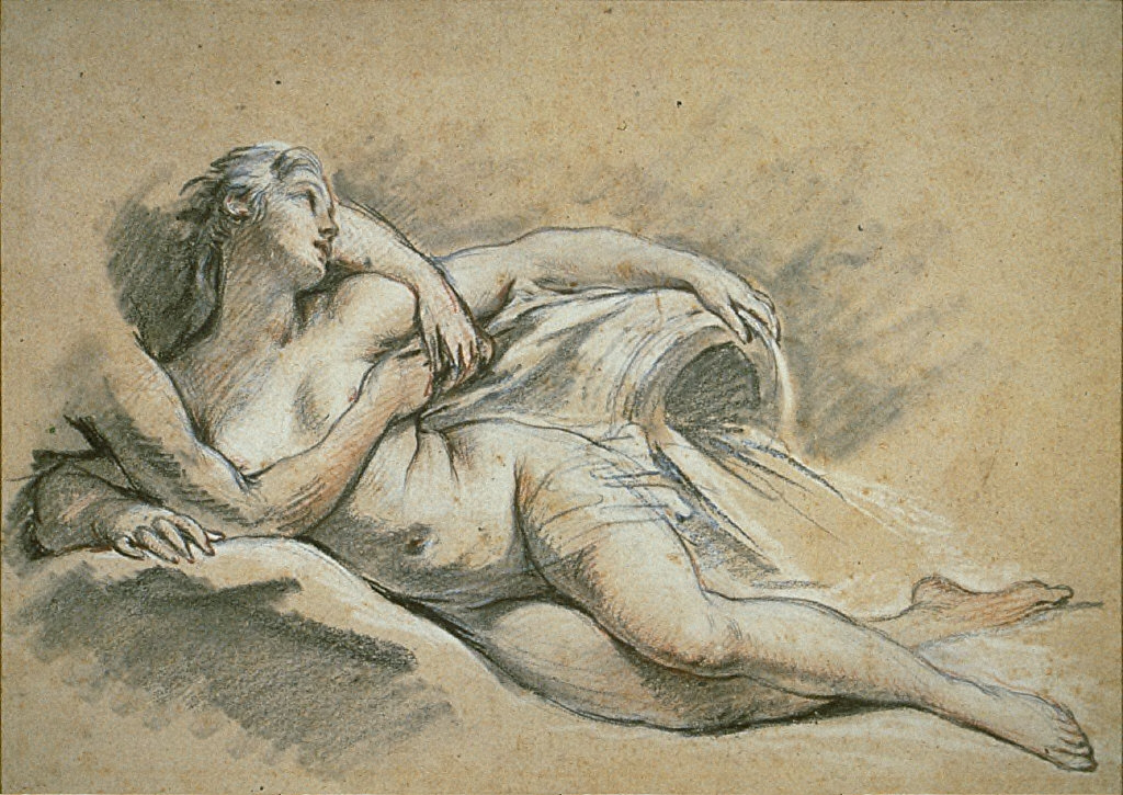 [A Study for Two Nymphs, A Nymph: Study for Apollo and Issa, Etude pour une Source, Final Published Work: Apollo and Issa, painting, Musee des Beaux Arts, Tours, 1750]