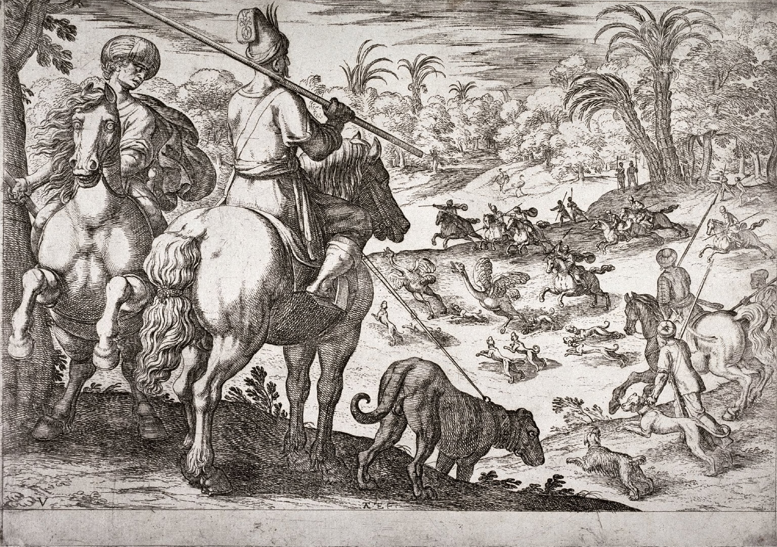 Ostrich Hunt, pl. 5 from the series Hunting Scenes VI
