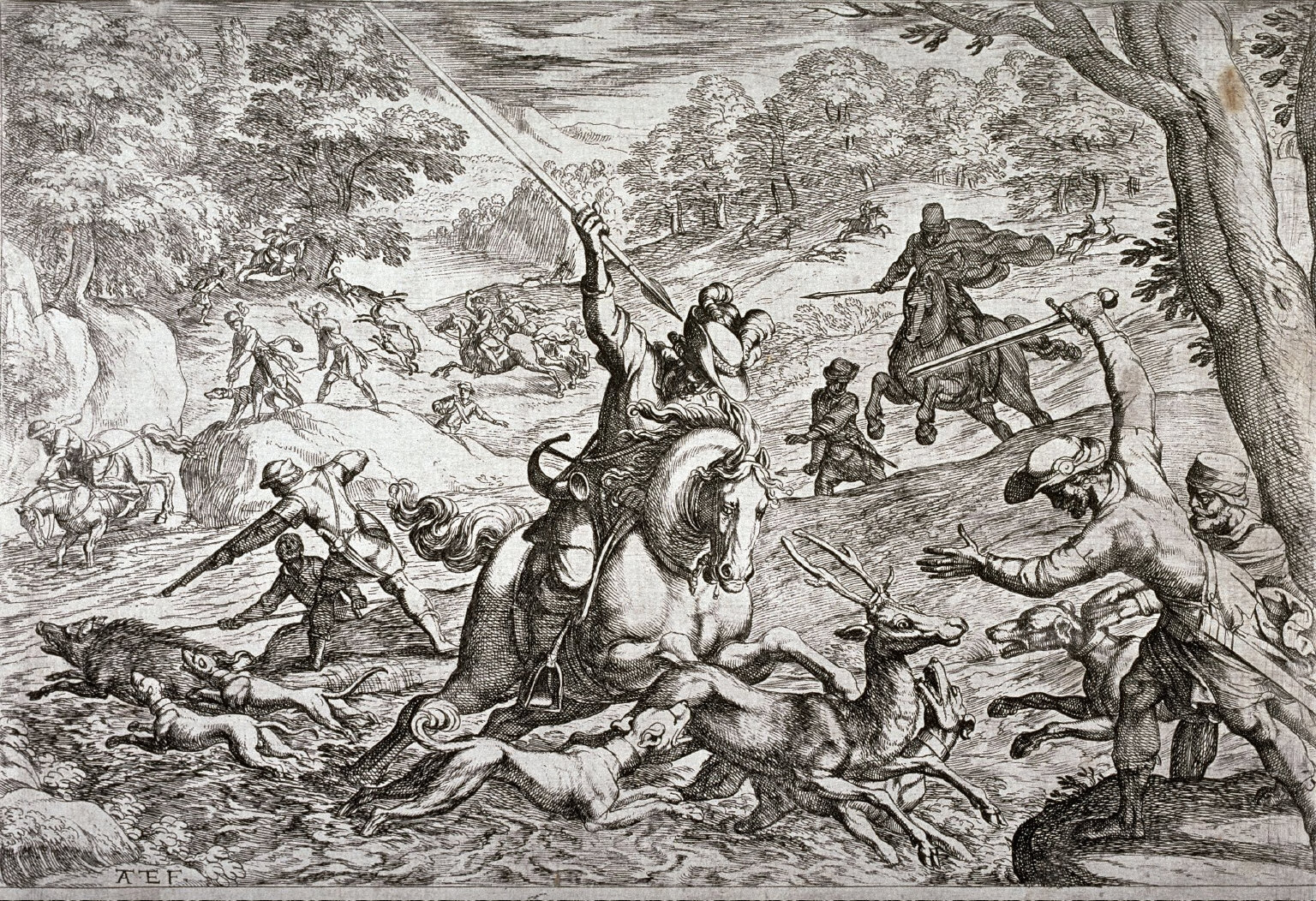 Stag and Boar Hunt, from the series Hunting Scenes VII
