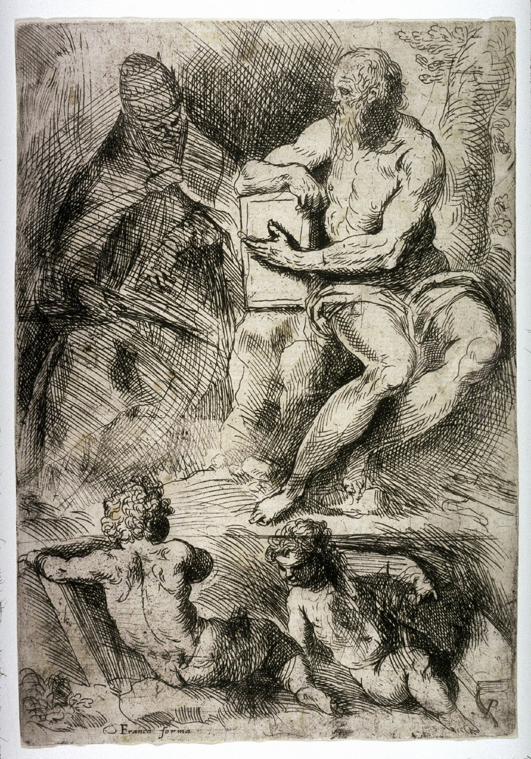 St. Jerome, Pope Damasus, and Two Putti, from the drawing manual, De excellentia et nobilitate delineationis libri duo Principles of Drawing)