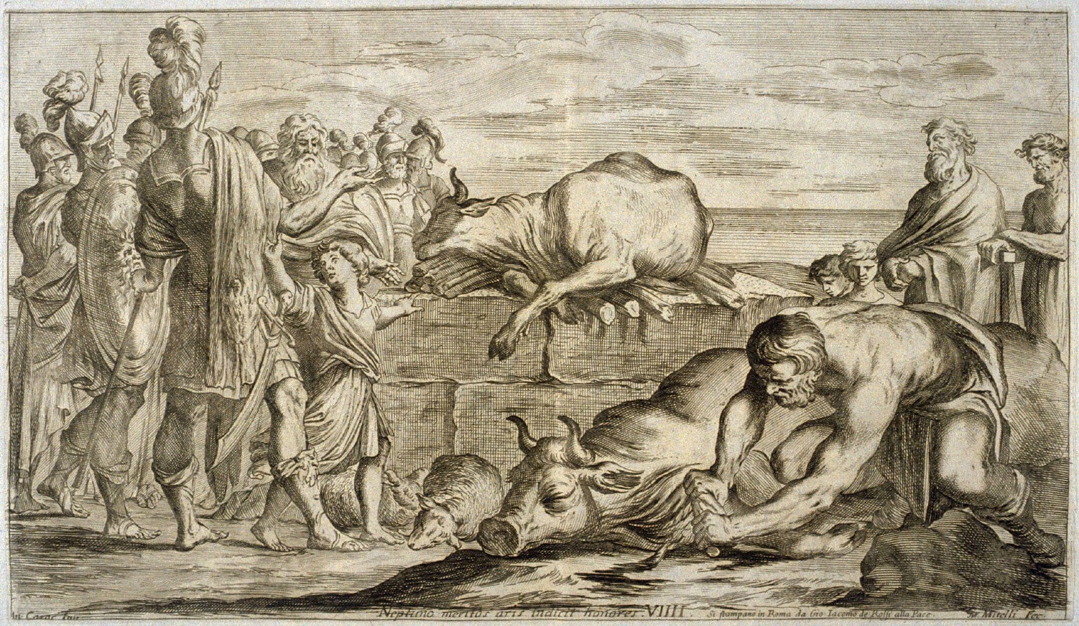 The Trojans Sacrifice Bulls to Neptune, plate 9 of L'Enea Vagante Pitture dei Caracci (Wanderings of Aeneas Painted by the Carracci), from of a set of twenty prints after the paintings by Ludovico, Annibale, and Agostino Carracci in the Palazzo Fava, Bologna