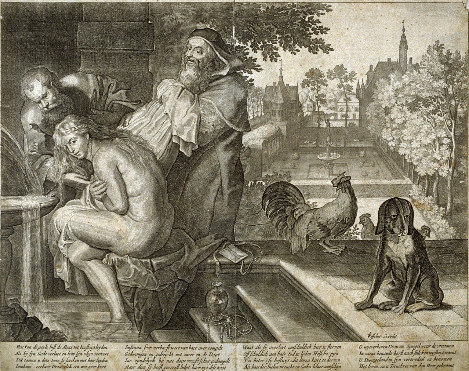 Susanna and the Elders, from a group of Biblical [and Apocryphal] illustrations printed by C.J. Visscher