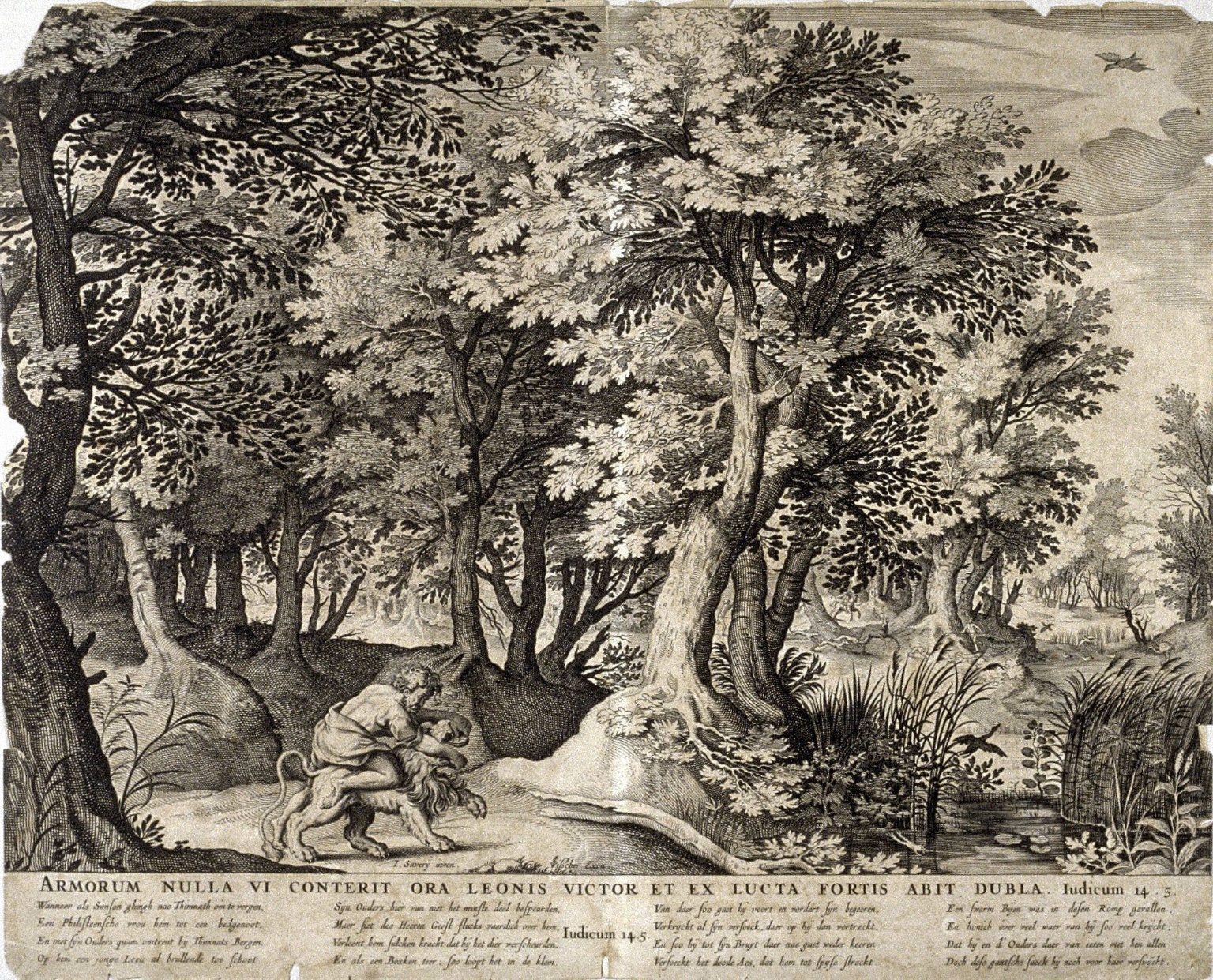 Armorum Nulla VI Conterit Ora Leonis Victor et Ex Lucta Fortis Abit Dubla (Samson Wrestling with the Lion), Judges 14:5, from a group of Biblical illustrations printed by C.J. Visscher