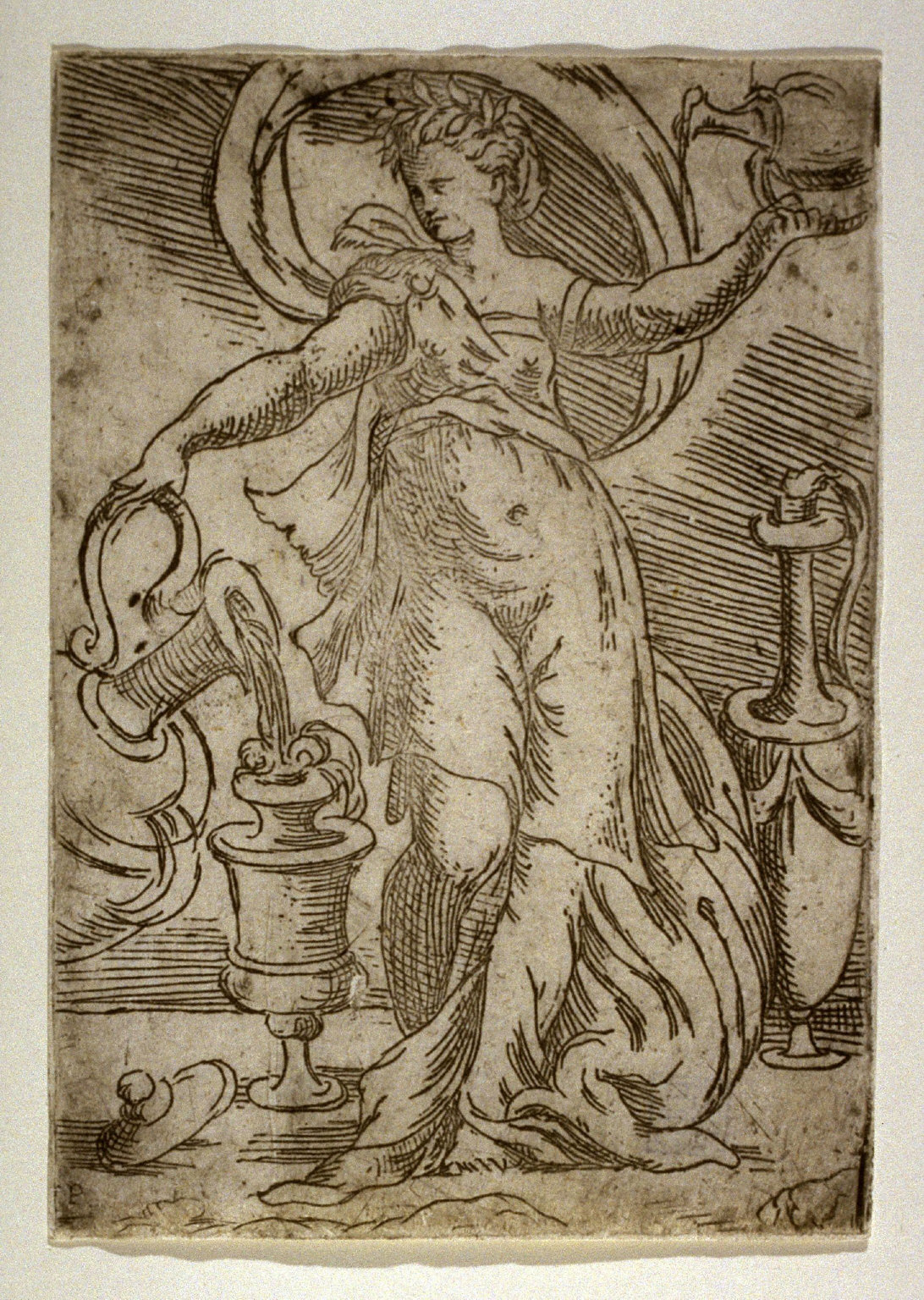 Woman Pouring from a Large Jug into a Ewer