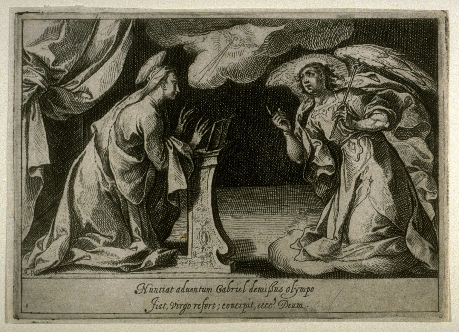 The Annunciation, plate 1, second of sixteen plates from the set Quindecim Mysteria Rosarii Beatæ Mariæ Virginis (Mysteries of the Rosary)