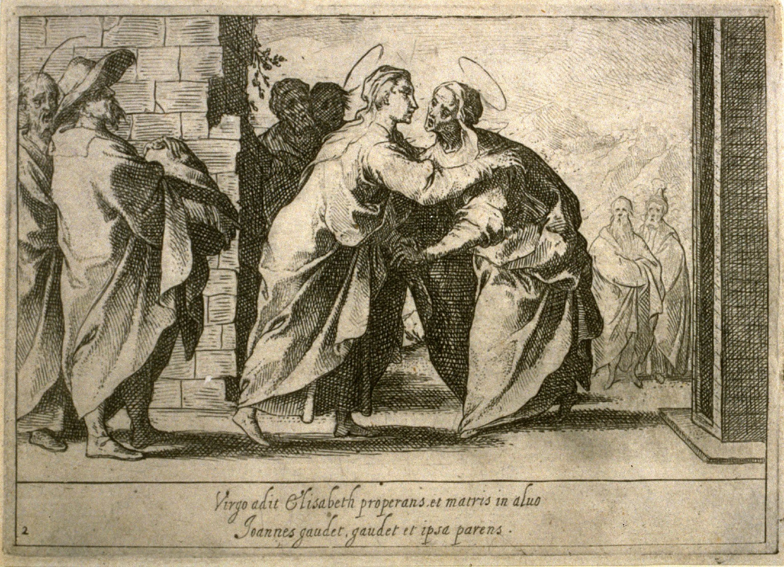 The Visitation, plate 2, third of sixteen plates from the set Quindecim Mysteria Rosarii Beatæ Mariæ Virginis (Mysteries of the Rosary