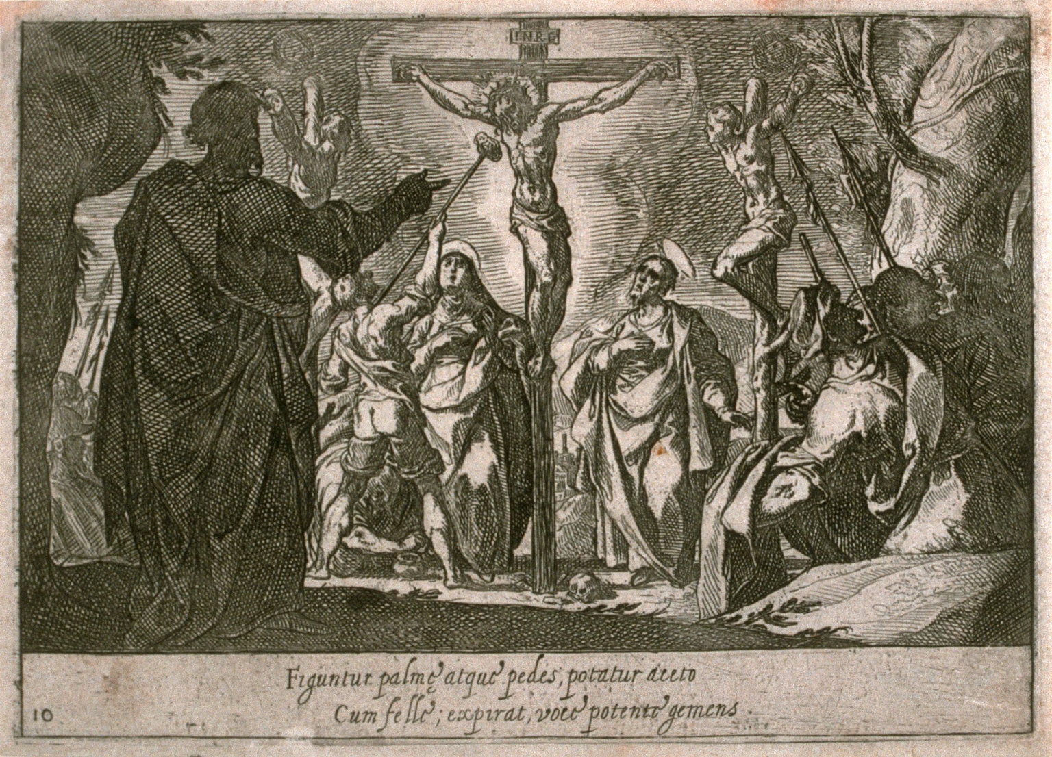 The Crucifixion, plate 10, eleventh of sixteen plates from the set Quindecim Mysteria Rosarii Beatæ Mariæ Virginis (Mysteries of the Rosary)