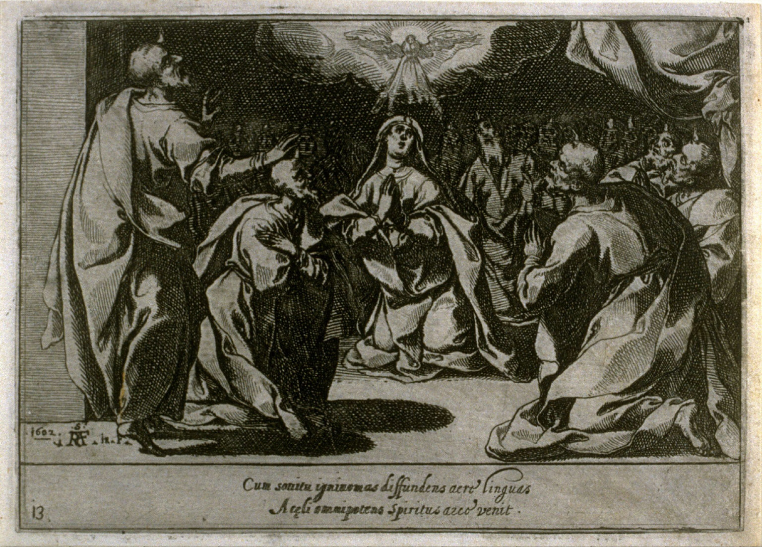The Pentecost, plate 13, fourteenth of sixteen plates from the set Quindecim Mysteria Rosarii Beatæ Mariæ Virginis (Mysteries of the Rosary)