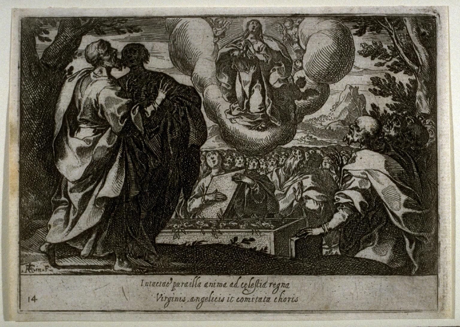 The Assumption of the Virgin, plate 14, fifteenth of sixteen plates from the set Quindecim Mysteria Rosarii Beatæ Mariæ Virginis (Mysteries of the Rosary)