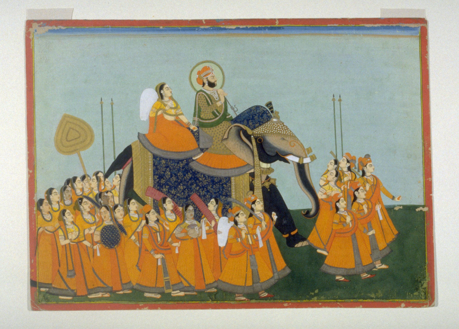Maharaja Sawai Jagat Singh of Jaipur Riding an Elephant in Procession with Attendants