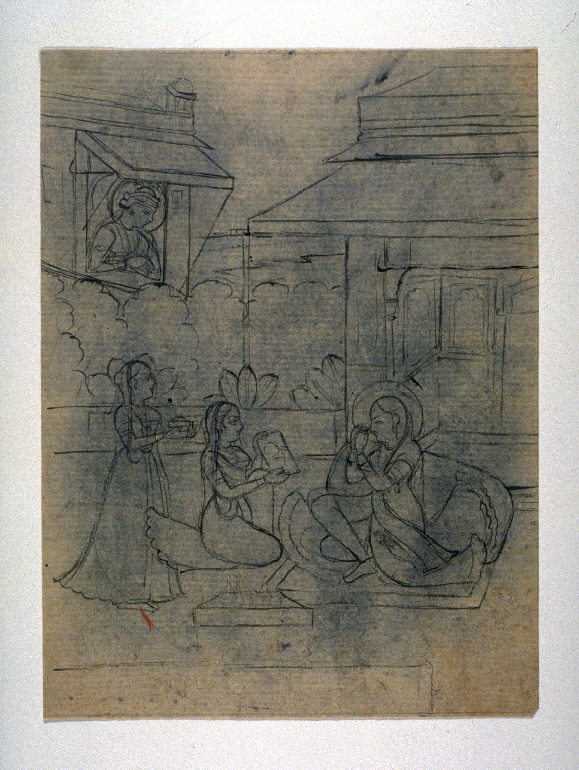 Lady, Attended by Two Maids, Looking in a Mirror ; a Prince Spies on Them from a Window Overlooking a Terrace