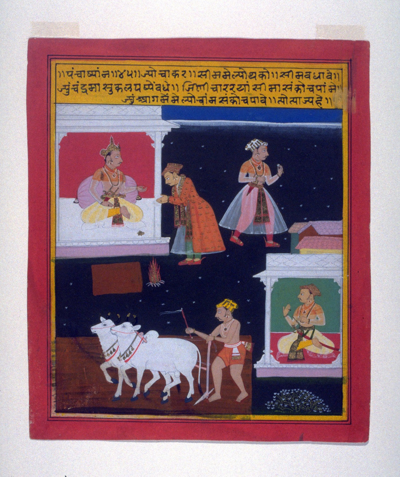 Page of illustration with text from an unidentified manuscript of the PanchakyaneMaharana of Mewar Chased by an Elephant