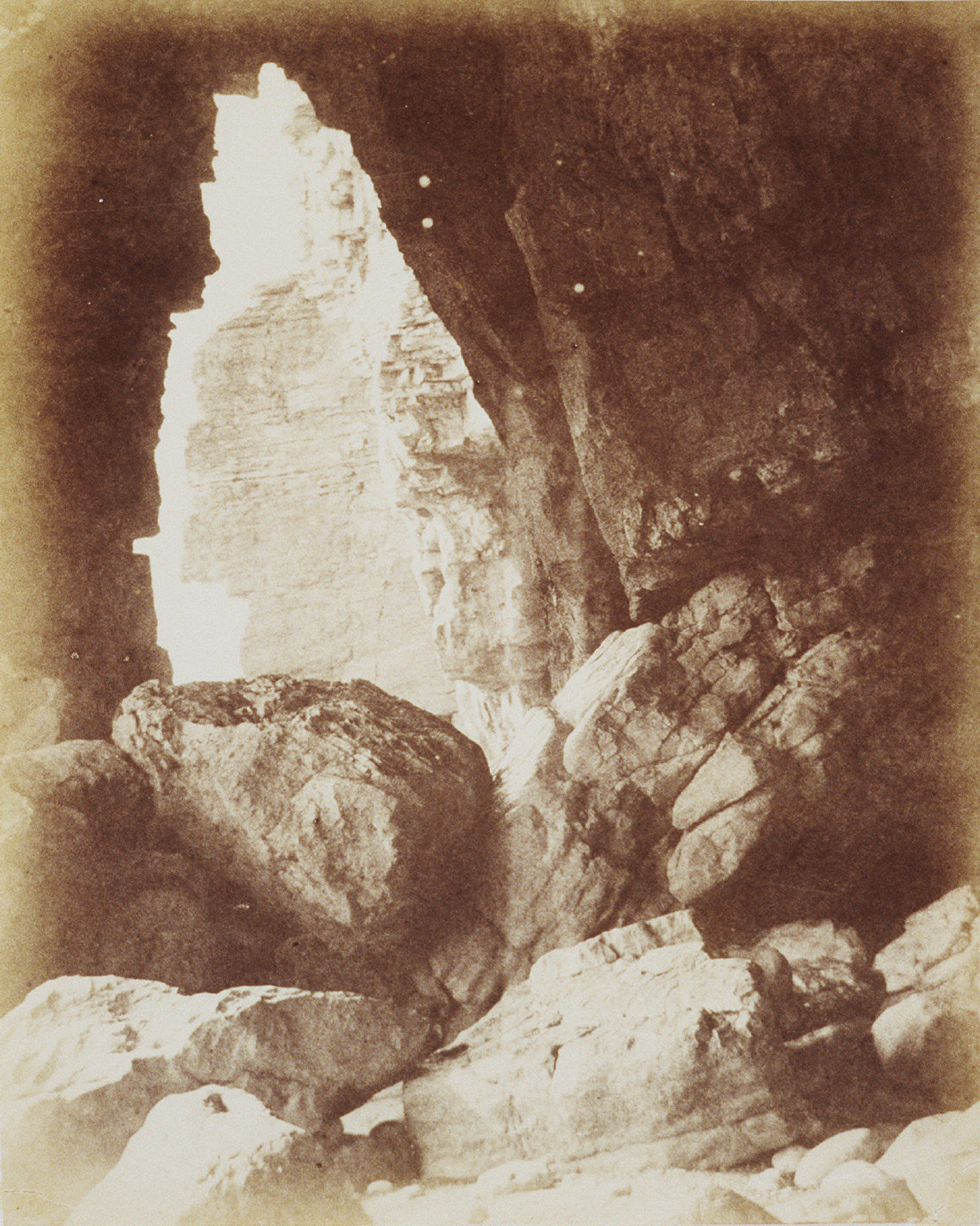"""Cave at Duinraven [also titled """"Inside Great Cave Dunraven""""]"""