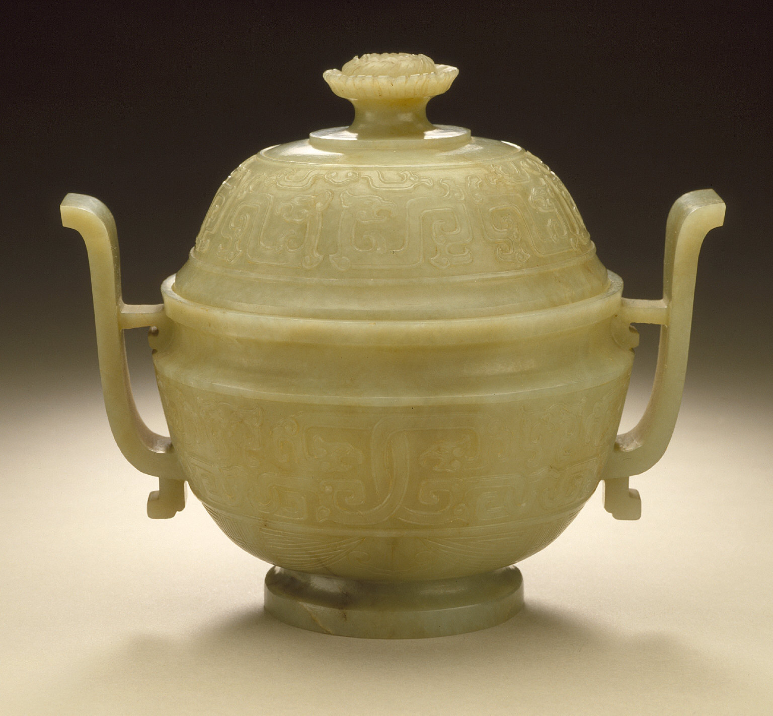 Lidded Incense Burner (Lu) in the Form of an Ancient Ritual Grain Server (Gui) with Interlaced Dragons