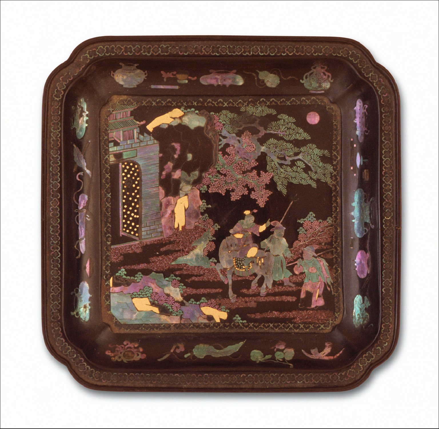 Square Dish (Die) with Figure on Horse