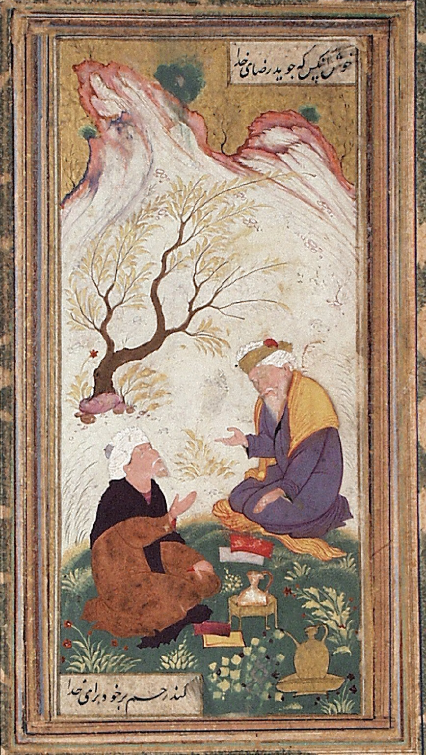 Two Bearded Men in Conversation in a Landscape