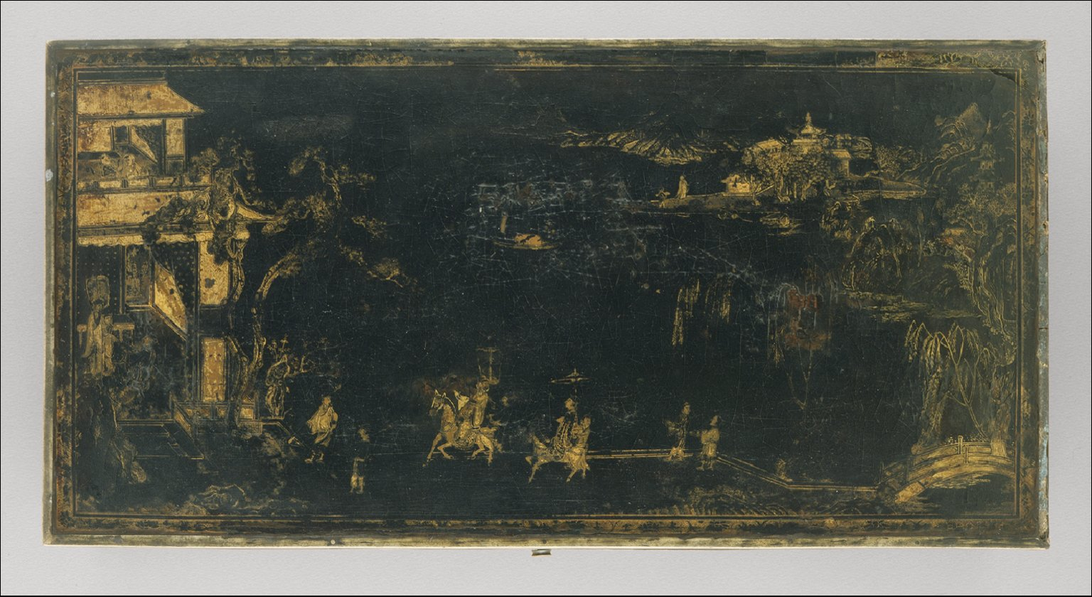 Rectangular Box (Changfang He) with Figures in a Landscape