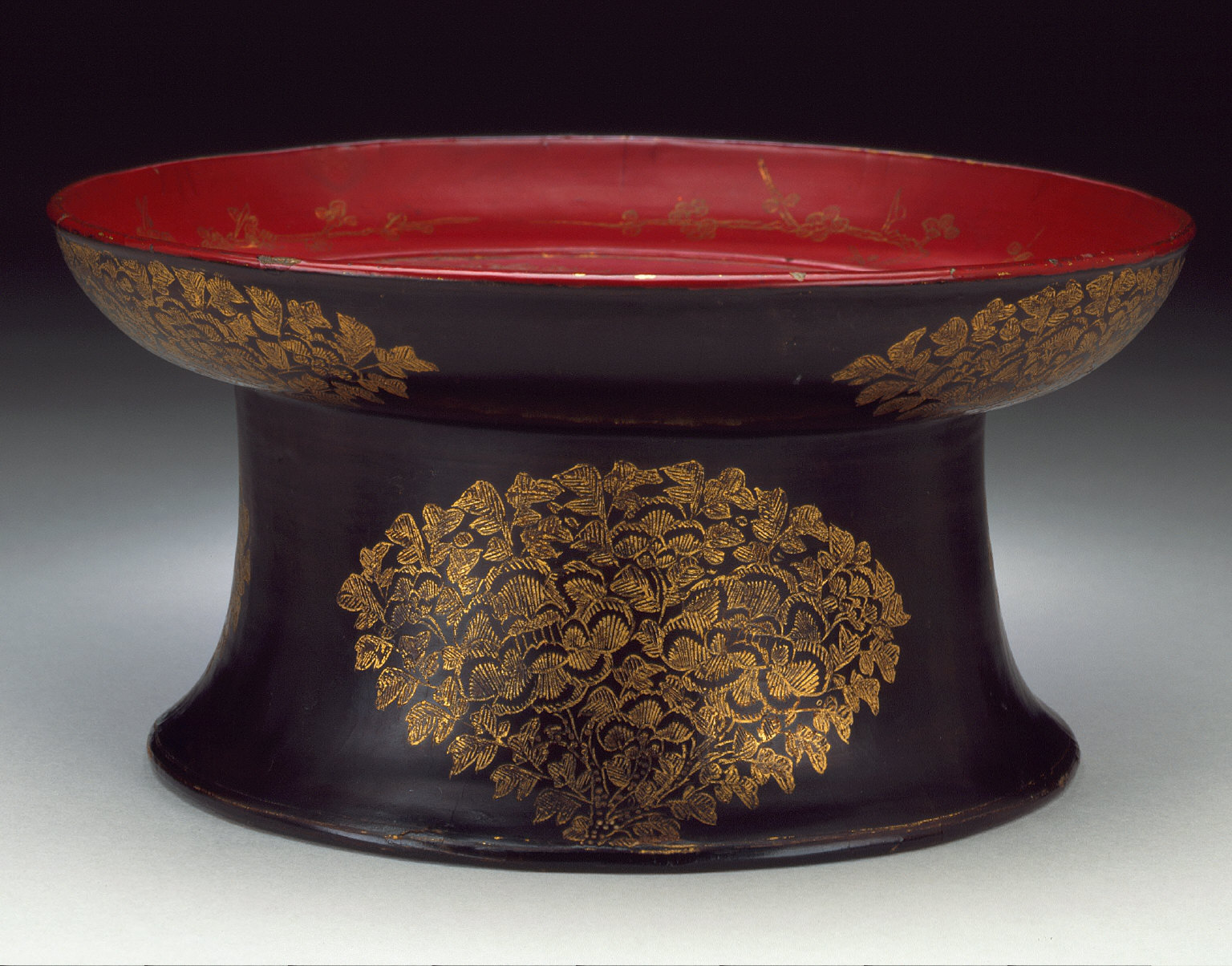 Tray on a High Foot with Camellias and Plum Blossoms