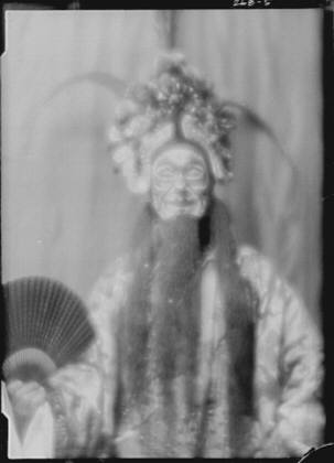 """Actor in costume as Wu Sin Yin for the play """"Yellow jacket"""""""