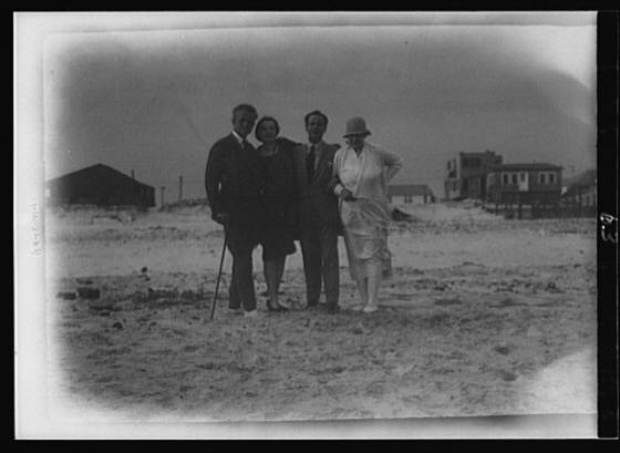 Arnold Genthe with friends in Long Beach, New York