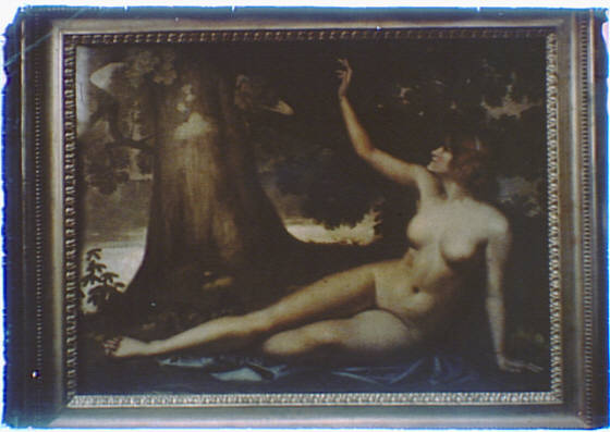 Photograph of a painting of Eve in the Garden of Eden